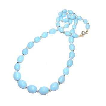 Vintage Light Blue Necklace, Light Blue Bead Strand, Long Graduated beaded Necklace