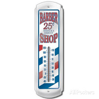 Classic Barber Shop Pole Indoor/Outdoor Weather Thermometer
