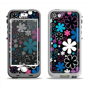 The Vibrant Pink & Blue Vector Floral Apple iPhone 5-5s LifeProof Nuud Case Skin Set