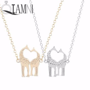 QIAMNI 1pc Unique Love Heart I Love You Loving Giraffes Animal Collares Pendant Necklace Christmas Jewelry Gift for Girls Women