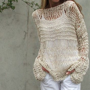 cream sweater cotton and linen summer grunge sweater iLE AiYE Exclusive range LTd Edition