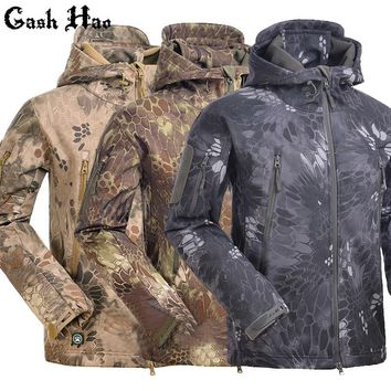 Tactical Snake Camouflage Army Jacket Men Military Shark V4.5 Waterproof Soft Shell Outdoors Jackets Fleece Camo Hunt Clothes