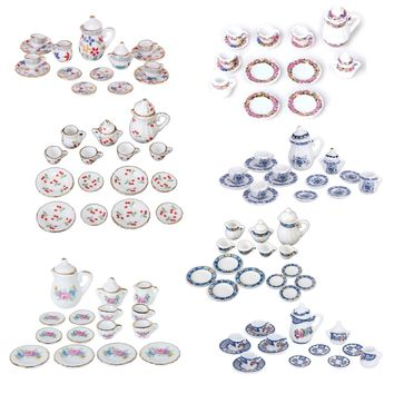 Hot 15pcs Dollhouse Miniature Dining Ware Porcelain Tea Set Dish Cup Plate British Style Blue Classic Pretend Play Children Toys