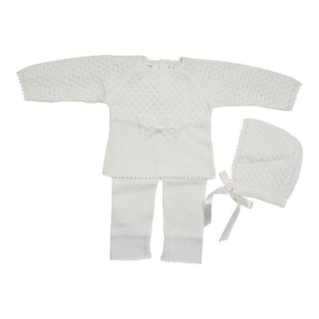 Antonella Ivory Knit Bow Set