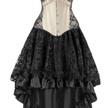 Atomic Victorian Inspired Apricot and Black Corset and Skirt