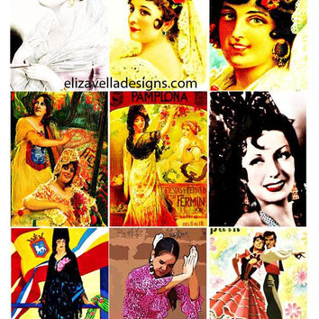 spanish mexican ladys flamenco dancers collage sheet 2.5 x 3.5 inch images digital download graphics craft printables