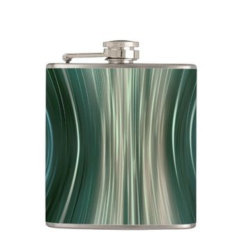 Green Futuristic Dreams Vinyl Wrapped Flask
