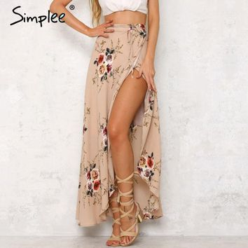 LMFET7 Simplee Vintage floral print long skirts women Summer elegant beach maxi skirt Boho high waist asymmetrical skirt