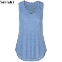 Sleeveless Solid Tees Women Tops Female Knitted T-Shirt Hollow Cross V-Neck Casual Big Curved Hem Tunic Tanks