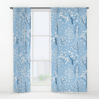 Winter forest doodles Window Curtains by katerinakirilova