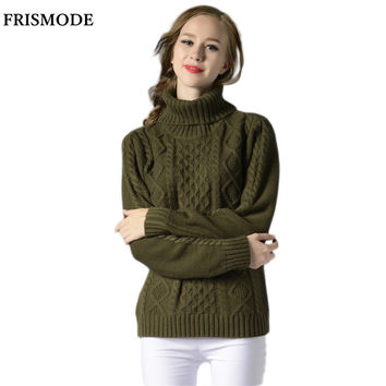 2016 Autumn Winter Fashion Crochet Cable Pullover Sweater Women Thick Warm Loose pull femme Women's Turtleneck Knitted Sweater