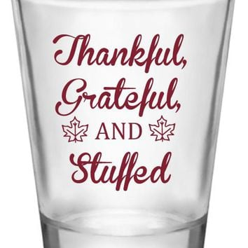 Thanksgiving shot glasses, thankful grateful and stuffed, personalized holiday shot glasses for your thanksgiving dinner
