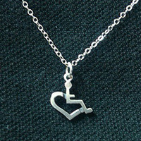 Sterling Silver Wheelchair Heart Necklace - Small by Jewelry | 3E Love's Wheelchair Heart
