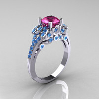 Classic 10K White Gold 1.0 CT Pink Sapphire Blue Topaz Solitaire Wedding Ring R203-10KWGBTPS