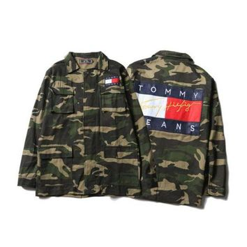 ONETOW Tommy Hilfiger' Men/Women Camo Denim Cardigan Jacket Coat