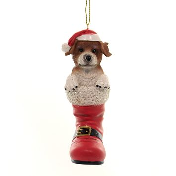 Holiday Ornaments DOG IN SANTA BOOT Polyresin Jack Russell Terrier D3696 I