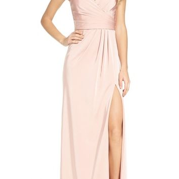 Xscape Cross Back Side Pleat Satin Gown | Nordstrom