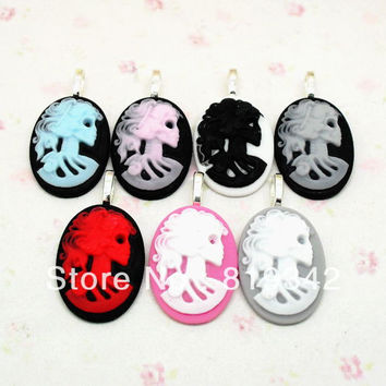 Free Shipping FUNKY LARGE SKELETON CAMEO PENDANTS GOTHIC EMO PUNK SKULL VINTAGE STEAMPUNK