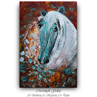 HORSE PAINTING, Animal Art, Original ART Equine Acrylic Abstract painting Art sale 24x36 Huge Textured Art deco fine art Nandita