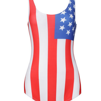 Multicolor American Flag Print Low Back Swimsuit