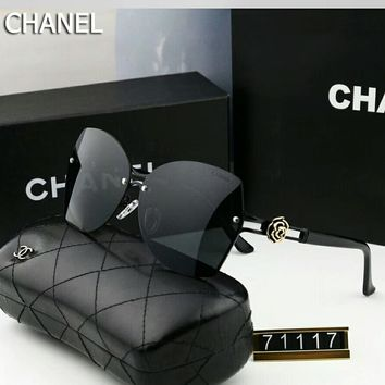 Chanel Popular Women Men Personality Summer Sun Shades Eyeglasses Glasses Sunglasses #6 Black I-A-SDYJ