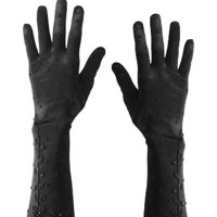 Beaded Black Satin Evening Gloves-Formal Gloves