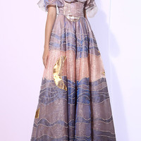 Claire de Lune Tulle Embroidered Long Dress | Moda Operandi