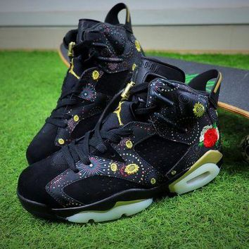 LMFUX5 2018 Air Jordan Retro 6 CNY Chinese New Year 3M Exquisite Floral Embroidery Fireworks Men Basketball Shoes Sneakers