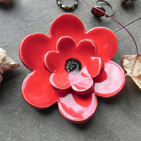 Poppy Ceramic Ring Dish, Really Red Flower Home Decor, Mother's Day Gift, Bridal Gift, Jewelry Plate, Double Poppy Pottery Ring Holder