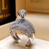 Dazzling Silver Natural Jewelry White Ring Bride Wedding Engagement Jewelry Ring Size 5 6 7 8 9 10 11 12