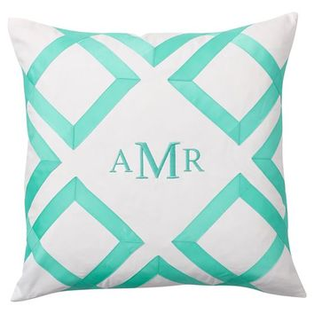 Lattice Monogram Pillow Cover