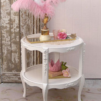 SOLD 8338 - White Round 2 Tier Side Table with Roses - $250 - The Bella Cottage