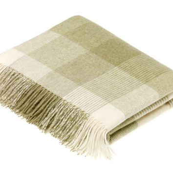 Merino Lambswool Blanket Check Sage Throw Blanket