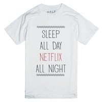 Sleep All Day, Netflix All Night-Unisex White T-Shirt