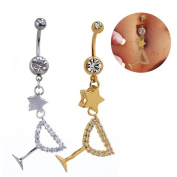 Lovely hollow out star and goblet shape zircon belly button ring antiallergic Navel Belly Ring-0428-Gifts box