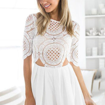 White Lace Chiffon Half Sleeve Cutout Pleated Playsuit