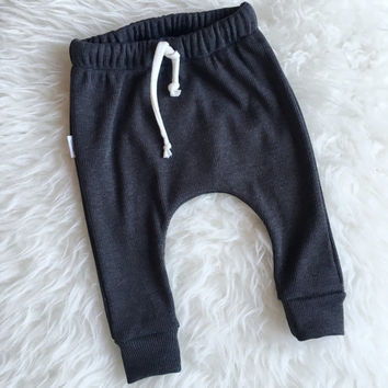 Baby | toddler ribbed harem pants with drawstring in charcoal