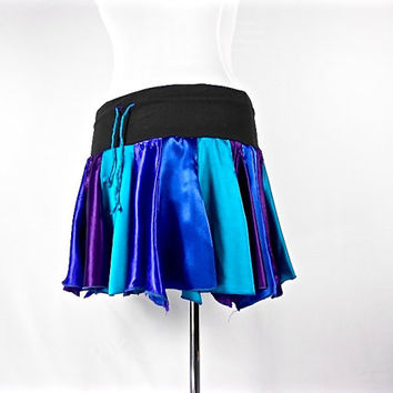 Patchwork Skirt, Upcycled Clothing, Hippie Skirt, Boho Chic clothing, Hippie Clothes, Bohemian Clothing, Short Skirt, Purple and Turquoise