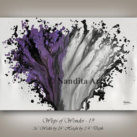 Purple and Grey Modern Painting Wall Art Magenta Abstract Home Decor Paintings Wall Hanging Original Modern Art Gallery Fine Art by Nandita