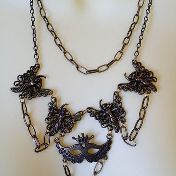 bronze fairy necklace mask layered necklace filigree fairies charms bronze chain handmade fantasy metal jewelry