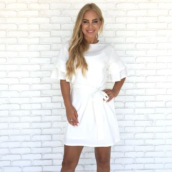 Rosita Bell Sleeve Shift Dress In White