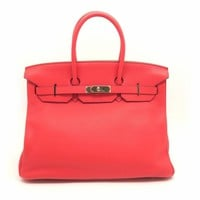 Hermes Clemence Leather Birkin 35 SHW Tote Bag Handbag Bougainvillier