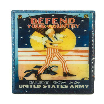 Handmade Coaster Vintage Patriotic - Defend your country - Handmade Recycled Tile Coaster