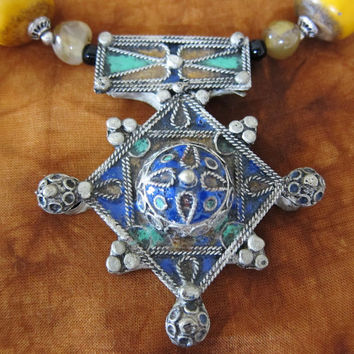 Beautiful Berber Cross with Resin, Metal & Onyx Beads, Moroccan Sahara
