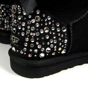 CUPUPS EXCLUSIVE - Swarovski Crystal Embellished Bailey Bow Uggs in Sparkly Night (TM) Toddle