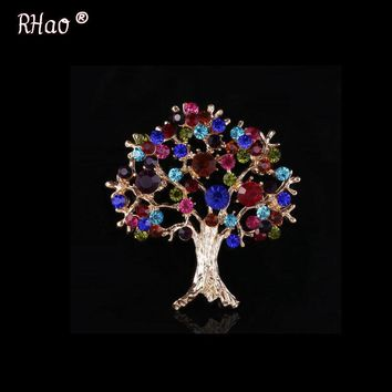 RHao New Colorful Christmas tree brooch, noble shawl full of stars life tree corsage, ladies coat chest accessories