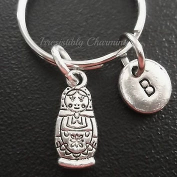Cute little Russian Doll, keyring, keychain, bag charm, purse charm, monogram personalized item No.509