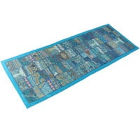 Blue India Sari Suit Old Patches Embroidered Wall Tapestry Runner