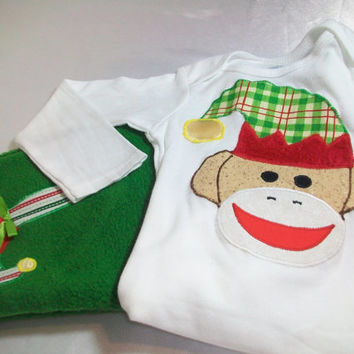 Baby Christmas Outfit - Sock Monkey Clothes - Elf Sock Monkey- Baby Fleece Clothes