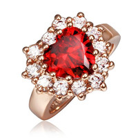 Rose Gold Plated Ruby Red Jewel with Crystal Covering Ring